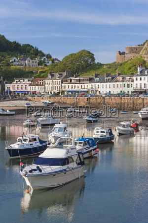 boats in gorey harbour jersey channel
