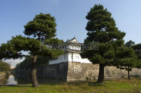 imperial palace walls kyoto city honshu