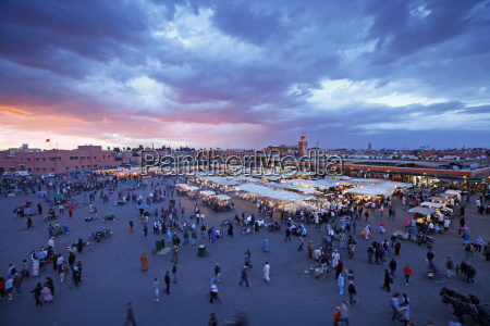 elevated view over the djemaa el