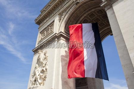 french flag under arc de triomphe