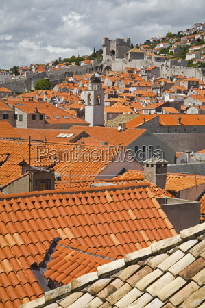 red tiled roofs dubrovnik dalmatia croatia