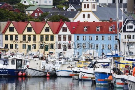 fishing fleet port of torshavn faroe