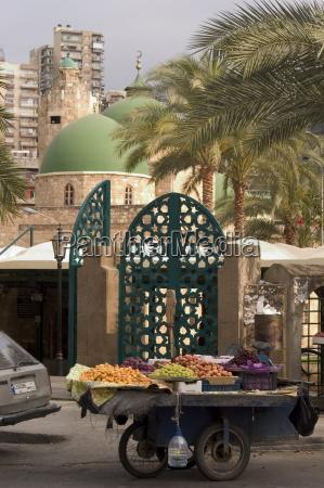 fruit sellers cart tripoli lebanon middle