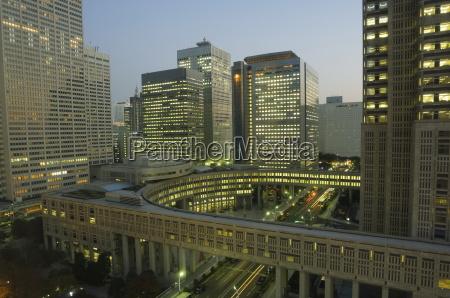 nightime skyscrapers and city buildings shinjuku