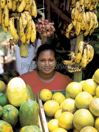 woman on a fruit stall dominican