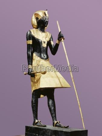 lebensgrosse statue von tutanchamun aus schwarzem