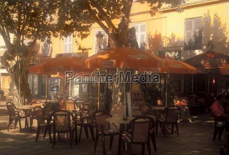 sidewalk cafe bastia corsica france mediterranean