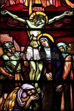 stained glass of christ on the