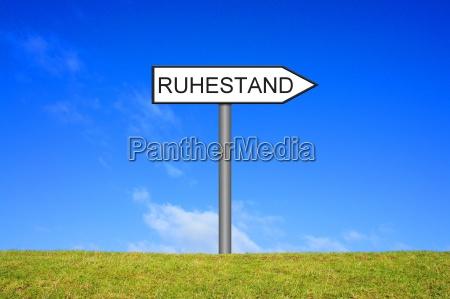 shield signpost shows retirement