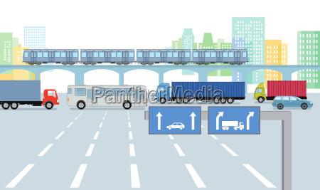 staedtische strasse mit strassenverkehr