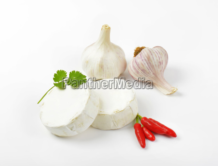 soft white cheese red chili peppers