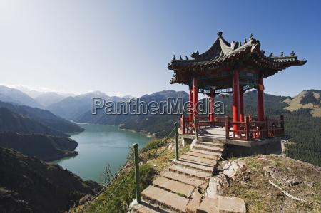 pavilion overlooking tian chi heaven lake