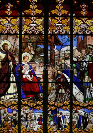 stained glass window of the visit