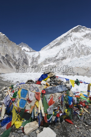 prayer flags at the everest base