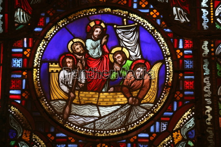 stained glass window of the miracle