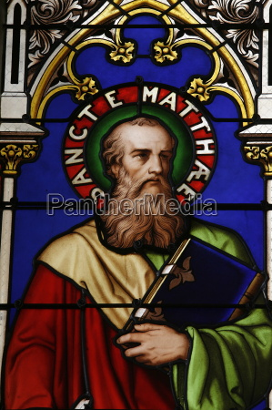 stained glass window of st matthew
