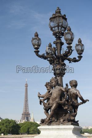 lamp on the alexandre iii bridge