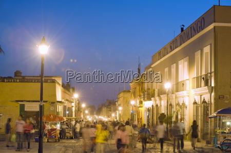 nightime street scene oaxaca oaxaca state