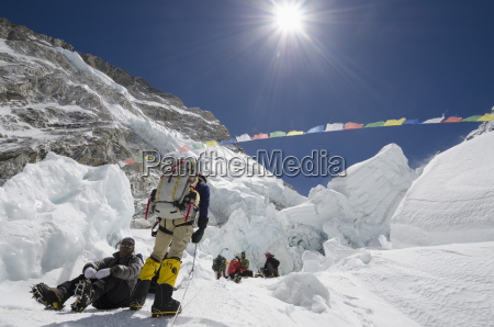 climbers in the khumbu icefall mount