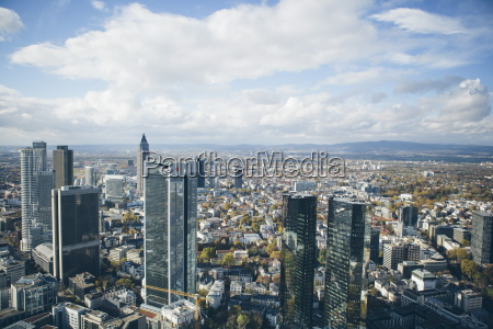 high angle view of financial centre
