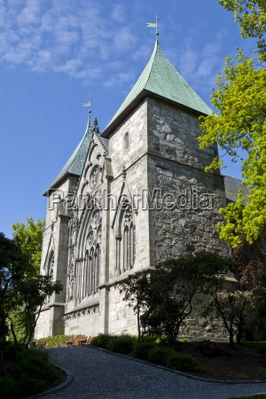 stavanger cathedral and trees stavanger norway