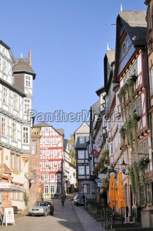 medieval buildings on mainzer street viewed