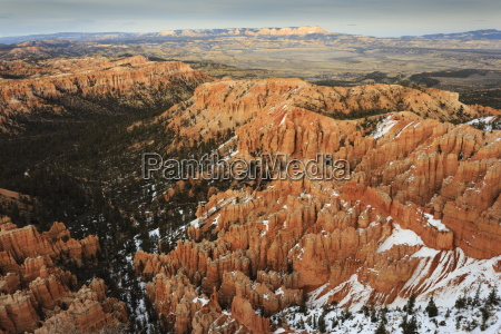 hoodoos trees and distant view with