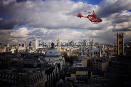london air ambulance over westminster london