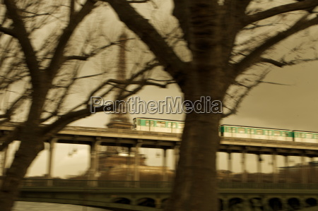 eiffel tower and metro train on