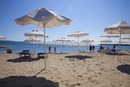 people enjoying the beach and sunshades