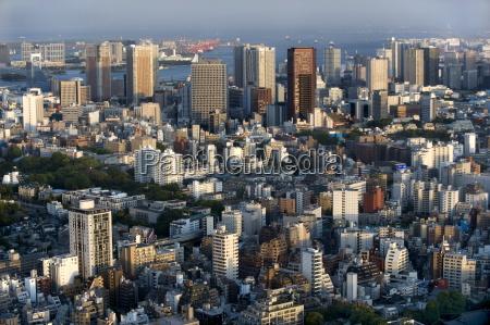 aerial view of metropolitan tokyo from