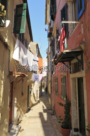 narrow street and washing old town