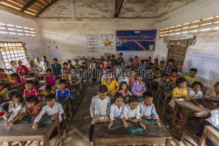 school children in the village of
