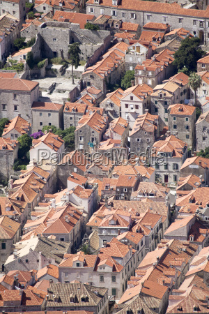 elevated view of rooftops dubrovnik dalmatia