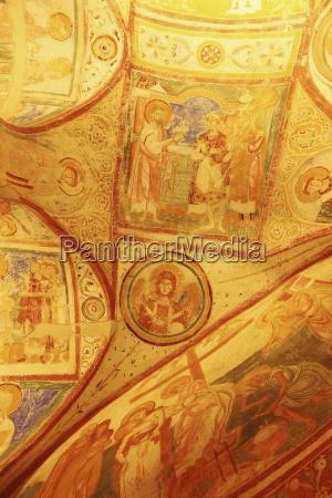 ninth century christian frescoes crypt ceiling