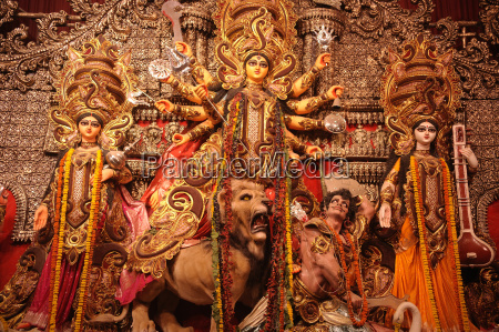 goddess durga statue during durga pooja