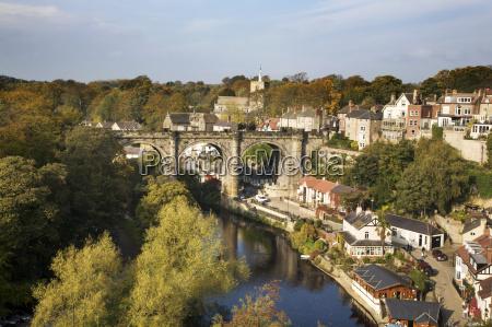 knaresborough viaduct and river nidd in
