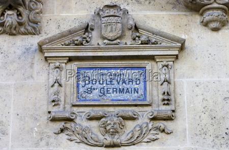 boulevard st germain strassenschild paris frankreich
