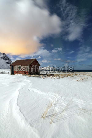 house surrounded by snow in a