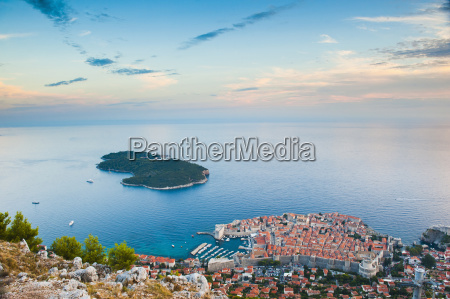 view over dubrovnik lokum island and