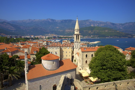 looking over budva old town to