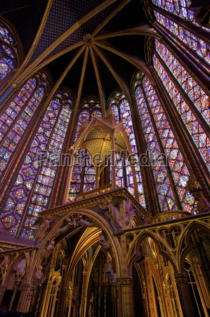 sainte chapelle interior paris france europe
