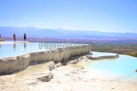 white travertine terraces at pamukkale unesco