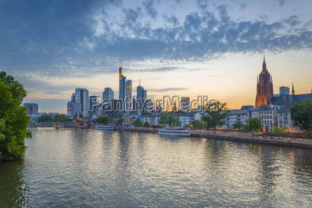 city skyline across river main frankfurt