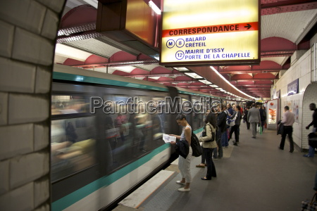 metro underground train coming into station