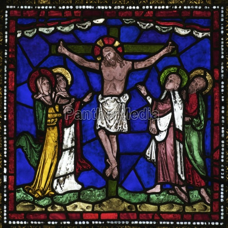 medieval stained glass of the crucifixion
