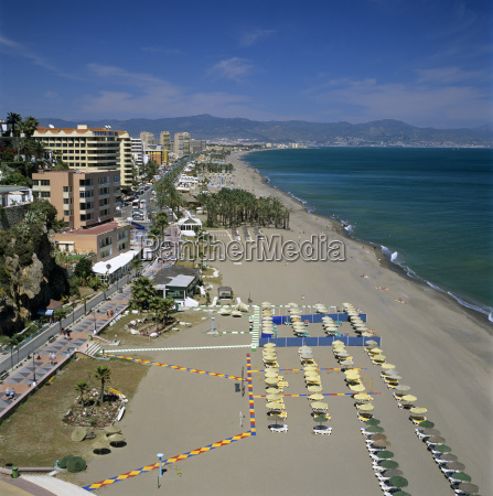 view along beach torremolinos costa del