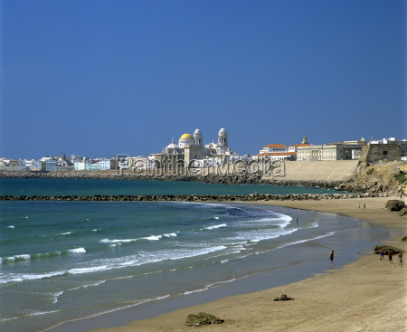 view along beach towards old town