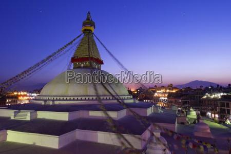 boudhanath stupa at sunset unesco world