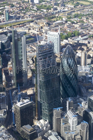 aerial view of the gherkin and
